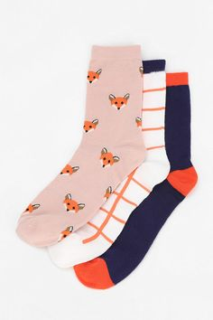 Cooperative Foxy Crew Sock - Pack Of 3. Urbanoutfitters . I need these..