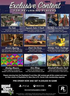 Rockstar-Reveal-Exclusive-Content-For-Returning-GTAV-Players  Since Rockstar announced Grand Theft Auto V on PS4. Fans of the open world action/drama game have been asking what extra features will be available for PlayStation 3 and Xbox 360 players, looking to invest in the new release version.  #PS4Games #PS3Games #GTAV