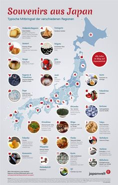 Souvenir from Japan - it does not always have to be the Winkekatze! The regions in Japan differ not only geographically and climatically, but also culturally. Which Japanese souvenirs are particularly popular in each prefecture, this infographic shows. Kyoto Japan, Okinawa Japan, Japon Tokyo, Japan Trip, Hiroshima, Nagasaki, Osaka, Tokushima, All About Japan