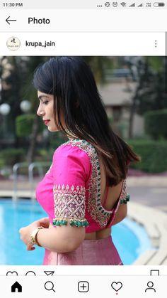 Latest Jeweled Blouse designs for 2019 Pattu Saree Blouse Designs, Stylish Blouse Design, Fancy Blouse Designs, Bridal Blouse Designs, Blouse Neck Designs, Designer Blouse Patterns, Work Blouse, Women's Fashion, Fashion Blouses
