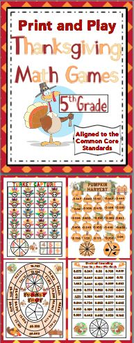Thanksgiving Math: No Prep, Print and Play Games (5th Grade) - You will be thankful for these no prep Thanksgiving math games. These games are easy to play, aligned to the Common Core Standards, and lots of fun. All the games are 1 page and have a spinner right on the game board! These are perfect for centers, small groups, or whole class fun! Also available for 3rd grade and 4th grade. $