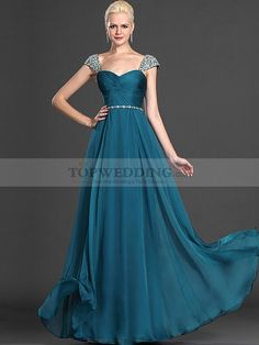 Beaded Cap Sleeved Flowing Chiffon Prom Dress with Criss Cross Bodice from www.topwedding.com