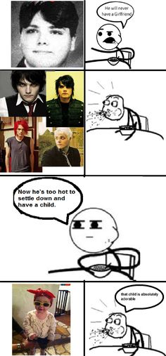 Cereal guy thinks Gerard Way is attractive. I strongly agree, Cereal guy. Emo Bands, Music Bands, Music Is Life, My Music, Style Emo, Mcr Memes, Band Memes, Cereal Guy, Frank Iero