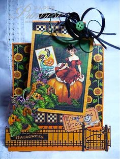 RebeccaDeeprose, halloween card, graphic 45, symmetrical step card, A2, pumpkins, orange, green, black, vintage image