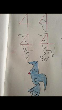 How to draw from numbers - blue bird