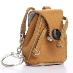 Awww these are adorable! Mini Leather Backpack with Black Button Key Chain