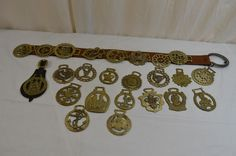 Equestrian Horse 24 Solid Brass Tack Medallions England Leather Strap 900-11-7