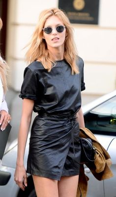 Model Anja Rubik looked effortlessly cool as she showcased her killer legs and toned figure as she was seen leaving her hotel in Warsaw…, Anja Rubik, Leather Dresses, Leather Skirt, Punk Fashion, Fashion Models, Alexander Wang, Alexander Mcqueen, Givenchy, Valentino