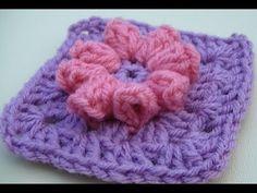 ▶ Popcorn Flower Granny Square Crochet Tutorial - YouTube