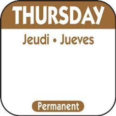 "Thursday 1"" Square Removable Label - Brown"