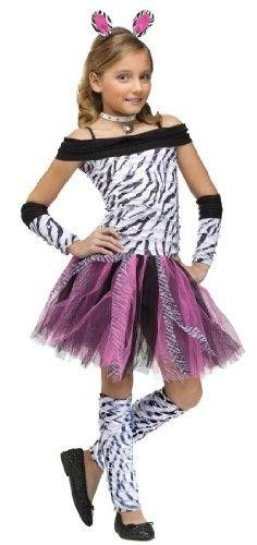 Zebra Girl Kids Costume  Includes: Dress with tail, headband, sleeves, leg warmers. Not included: Necklace, shoes.  Features : Childrens : Animal...