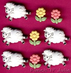 Pastel Shank Dress It Up Buttons Jesse James My Little Lamb Baby Sheep