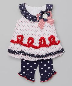Another great find on #zulily! Patriotic Polka Dot Ruffle Tunic & Leggings - Infant by Gerson & Gerson #zulilyfinds