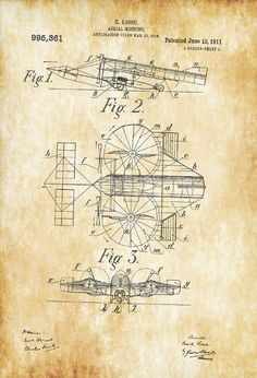 A patent print poster of a an curious looking Aerial Machine invented by E. Losse. The patent was issued by the United States Patent Office on June 13, 1911. Patent prints allow you to have a piece of history in your Home, Office, Man Cave, Geek Den or anywhere you wish to add an