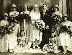 1929 newlyweds Polly and Julius with their wedding party London, England Photo by Boris Bennett
