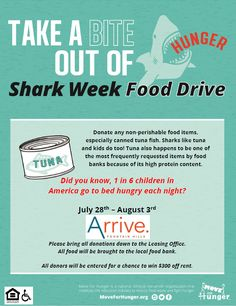 Take a bite out of Shark Week with a Move For Hunger Food Drive! Did you know tuna is the most frequently requested items by food banks because of its high protein content. Non Perishable Food Items, Pet Friendly Apartments, Fountain Hills, Food Drive, Shark Week, Did You Know, Take That, Thankful, How To Plan