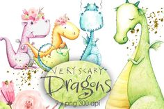 Cute Dragons Clipart Watercolor by Monique Digital Art on Creative Market – Art Ideas Pencil Illustration, Graphic Illustration, Boss Babe, Girl Clipart, Bear Clipart, Party Invitations Kids, Very Scary, Big Scary, Cute Dragons