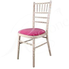 Limewash Chiavari Wedding Chair with Fuchsia Pink Seat Pad
