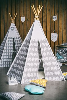 Teepee grey elephants by ElenLiving on Etsy