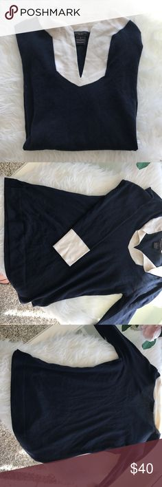 Henri Bendel 100% cashmere nautical navy sweater Henri Bendel 100% cashmere nautical navy sweater. Slight pilling but amazing condition. Buttery soft cashmere. Love the preppy nautical vibe of the sweater. henri bendel Sweaters V-Necks