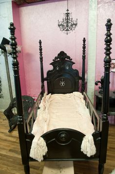 this antique babybed came over on the boats from england. It is painted high gloss black and blinged out. It is for sale for Shower Tips, Antique Furniture For Sale, High Gloss, Nursery Decor, Boats, England, Antiques, Antiquities, Antique