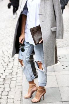 What we're dreaming about for Fall. There's something so sexy about a distressed pair of boyfriend jeans and heels.
