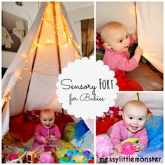 How to build a sensory teepee fort for babies. A very simple DIY den.
