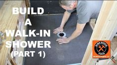 DIY Bathroom How to Build a Walk-In Shower (Part Wedi Shower Pan Install) — by Home Repair Tutor Tile Walk In Shower, Walk In Shower Designs, Shower Base, Shower Floor, Clean Shower, Diy Shower Pan, Tile Floor, Floor Grout, Tile Showers