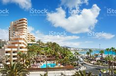 Photo about Cityscape of resort town Playa del Ingles. Image of islands, landscape, outdoors - 50654053 Balearic Islands, Canario, Canary Islands, Beautiful Islands, Portugal, Dolores Park, Stock Photos, Landscape, World