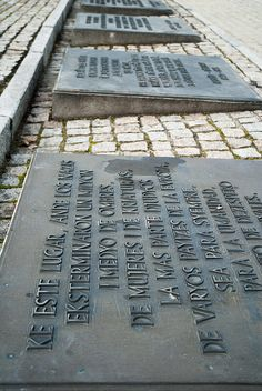 The Monument in Birkenau. There are plaques in several languages starting from Ladino language (in the foreground) that commemorate all the victims of the camp.
