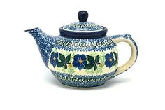 Polish Pottery Teapot  14 oz  Blue Pansy *** Find similar products by clicking the VISIT button