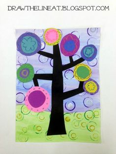 Draw The Line At: kandinsky trees  Great for printmaking ( stamping) and pattern/line making.