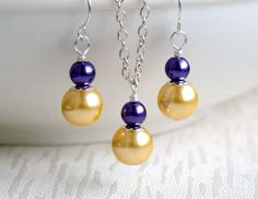 Bridesmaid Gift Purple Yellow Necklace Earrings by LaurinWedding, $14.00