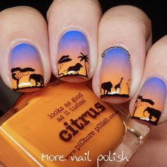 """African Safari nails using the gradient from my last post."""