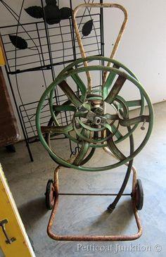 Vintage Green Metal Garden Hose Reel