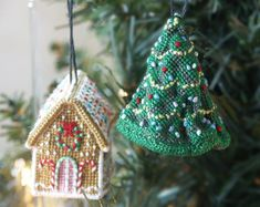 Cross-stitch embroidery kit_ Jennifer Jones's Gingerbread Cottage & Cressida Chrimble's Christmas Tree