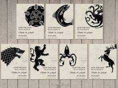 Set of 7 Save the Date cards Game of Thrones - Digital file: