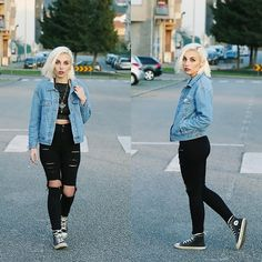 Cátia Gonçalves - Sammydress Denim Jacket, Dresslink Ripped Jeans, Converse All Stars, Pull & Bear Top - Dead Visions in your Name  Dead Fingers in my Veins