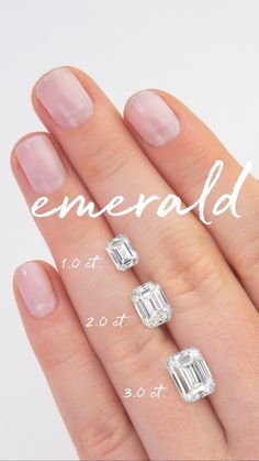 Because a picture is worth a thousand words, we've created some handy on-hand carat comparisons to help you decide which diamond shape and weight is right for you! #BrilliantEarth #emeralddiamonds #emerald #brilliantdiamonds #diamonds #conflictfree #caratcomparison #sparkle #diamondeducation #diamondshopping #engagementring #wedding #engagementinspo Engagement Ring Carats, Engagement Ring Sizes, Solitaire Engagement, Emerald Cut Diamond Engagement Ring, Engagement Couple, Diamond Sizes, Diamond Cuts, Emerald Cut Rings, Sapphire Rings