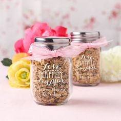 Imprinted mini glass mason jars are pretty and petite, and are perfect as favors or as decor at your upcoming shower or wedding!