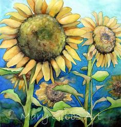 sunflowers, watercolor by Mary Gibbs Watercolor Disney, Watercolor And Ink, Watercolor Illustration, Watercolor Flowers, Watercolor Paintings, Sunflower Pictures, Sunflower Art, Vincent Van Gogh, Mosaic Flowers