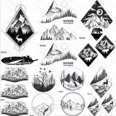 Unique Tattoos, Fake Tattoos, Small Tattoos, Tattoos For Guys, Small Mountain Tattoo, Geometric Mountain Tattoo, Geometric Tattoo Tree, Forest Tattoos, Nature Tattoos