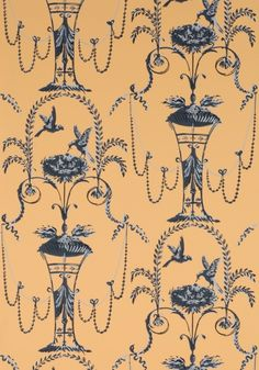 Adelphi Custom and Historic Wallpaper and Paper Hangings/ This pattern dates from 1775 to the 1800's and is called Arabesque Pigeons