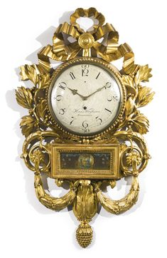 """A Gustav III Swedish Neoclassical carved giltwood cartel clock circa 1775, dial signed """"Hans Wessman, Stockholm"""" 