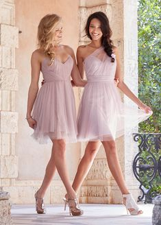 Primrose English net over Silver net. Draped natural waist bodice with sheer one-shoulder overlay (short) Bridesmaids Dresses: Junior, Maternity & Flower Girl Dresses by Jim Hjelm Occasions - Bridesmaids and Special Occasion Style jh5512 by JLM Couture, Inc.