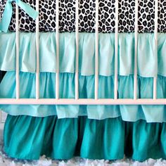 Aqua Ruffle Crib Skirt