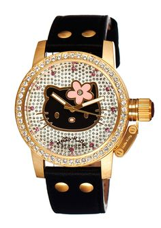 HELLO KITTY BY JET SET Crystal Dial Leather Watch