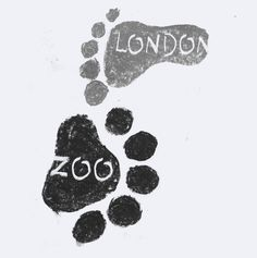 Alternate family-oriented logo for London Zoo.   Chalk Pastel with white…