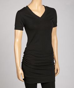 Love this Zenana Black Ruched V-Neck Tunic by Zenana on #zulily! #zulilyfinds