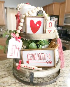 Mix and match items, mini signs, garlands, love dice, et Red & White Valentines Day tiered tray set Mix and match image 1 Diy Projects Cans, Kissing Booth, Tray Decor, Valentine Decorations, Mix N Match, Craft Items, Wooden Beads, Painting On Wood, Valentines Day